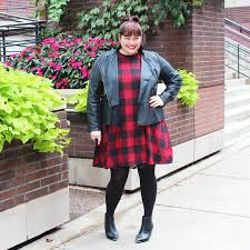 moto style jacket plus size fall fashion plaid dress and leather moto jacket