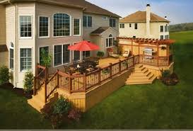 large cozy free standing wood deck design that can be decoration