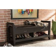 Shoe Storage With Seat Or Bench - dark brown shoe storage seating bench rc willey furniture store
