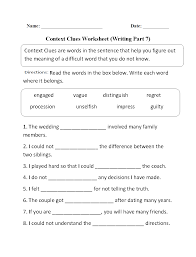 2nd Reading Comprehension Worksheets Context Clues Worksheet Writing Part 7 Intermediate Great