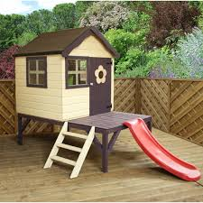 wooden playhouse with slide and tower mercia 4 x 4