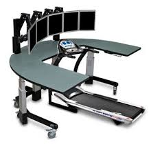 Computer Desk Treadmill Treadmill Desk With Five Monitors Overstimulates As You Exercise