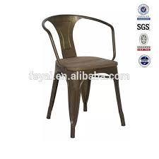 Vintage Metal Dining Chairs Low Price Vintage Iron Printed Wood Seat Industrial Metal Dining
