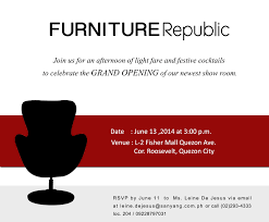 Shop Opening Invitation Card Format Furniture Republic Fishermall Grand Opening Furniture Republic