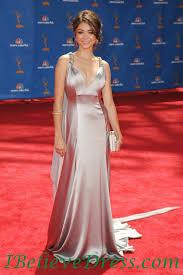 satin sarah hyland elegant best evening dress emmys awards red
