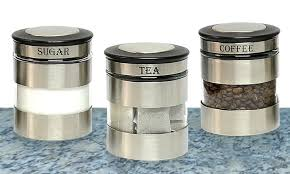kitchen canister sets stainless steel stainless steel canister set groupon goods