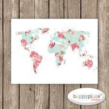 Wall Art World Map by Girly Wall Art Feminine World Map Large Map Print Mint