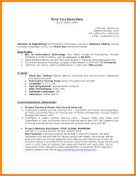 basic sle resume format 2 manual testing sle resume qa tester cover letter