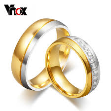 wedding ring vnox wedding ring for women men gold color engagement