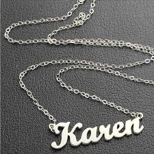 Name Necklaces Silver Aliexpress Com Buy Freeshipping Karen Style Name Necklace Silver