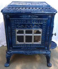 antique french art nouveau siroco dark blue enamel wood burning