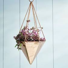 modern hanging planters copper geometric hanging planter by london garden trading