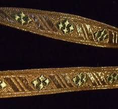 gold metallic ribbon precious antique vintage gold metallic ribbon trim with green