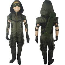 Deluxe Kids Halloween Costumes Arrow Season 4 Oliver Queen Cosplay Costume Deluxe Halloween