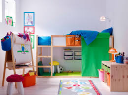 a colourful children u0027s room with a loft bed in solid pine with