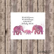 Pink Elephant Nursery Decor Pink Elephant Printable Printable Decor Elephant Nursery Decor