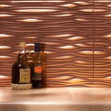 Copper Kitchen Backsplash by Fasade Waves Polished Copper 18 Square Foot Backsplash Kit By