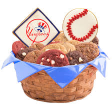 nyc gift baskets mlb new york yankees cookie basket cookies by design