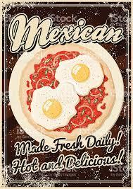 affiche cuisine vintage imprimé vintage cuisine mexicaine affiche cliparts vectoriels et