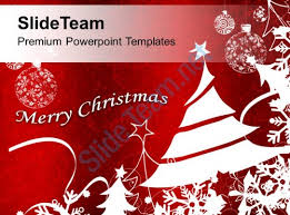 bright red merry christmas background powerpoint templates ppt