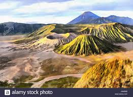 Colorful Painting by Beautiful Sunset View Colorful Painting Bromo Tengger Semeru