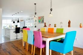 colorful dining chairs with wooden dining table decolover net