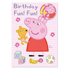 peppa pig age 4 birthday card party ark