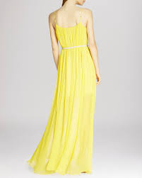 halston maxi dress belted sheer overlay in yellow lyst