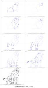 draw simba lion king printable step step