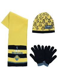 Minion Desk Accessories by Despicable Me Minions Hat Scarf And Gloves Set Kids George At