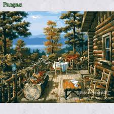 3d unframed picture diy oil painting by numbers pastoral jungle