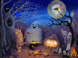 halloween background with silhouettes of children trick or treating in halloween costume happy halloween 2017 quotes pumpkin images pictures wallpaper