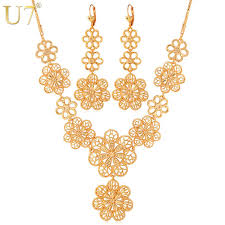 new gold set u7 flower jewelry set wholesale new gold color vintage party
