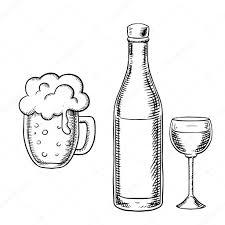 wine glass bottle and beer tankard u2014 stock vector seamartini