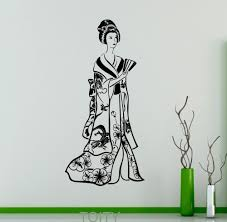 popular asian wall stickers buy cheap asian wall stickers lots asian geisha wall sticker kimono floral pattern japan vinyl decal art decor beauty home interior living