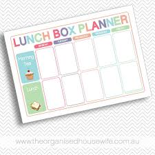 lunch box planner template lunch box planner the organised housewife shop