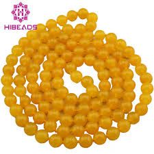 bead necklace charms images Fabulous yellow stone long necklace charms 8mm stone beads jpg