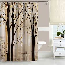 Unique Bathroom Shower Curtains Trees Shower Curtain Forest Bath Curtain Brown Beige Gray