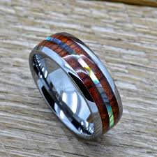 wedding rings cape town mens tungsten ring with abalone and genuine koa wood inlay 8mm