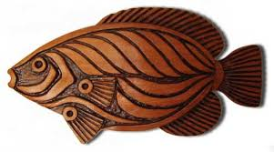 fish wall sculpture carved wooden fish carving