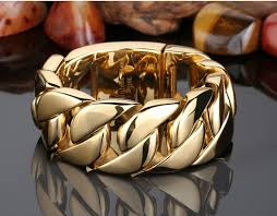 gold tone stainless steel bracelet images Fashion punk 31mm super heavy biker jewelry gold tone round curb jpg
