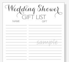 wedding gift lists diy wedding shower gift list printable calligraphy script
