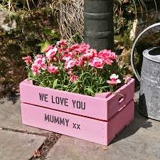 personalised small planter crate by plantabox notonthehighstreet com