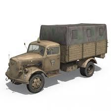 opel blitz ww2 opel blitz 21 panzer division 3d model cgstudio