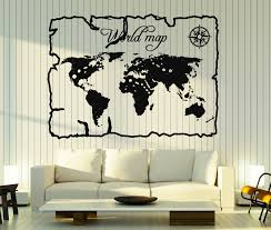 wall stickers vinyl decal vintage world map compass home decor
