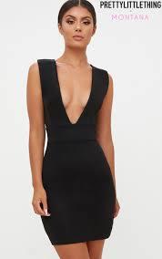 plunge dress plunge dresses v neck low plunge prettylittlething usa