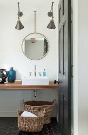 Powder Room Sink White Powder Room Sink With Gold Chain Link Mirror Transitional