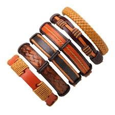 braided leather charm bracelet images 6pcs set black wristband genuine leather charm bracelet men jpg