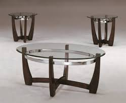3 Piece Modern Wood And Glass Coffee Table Set With Glass Coffee