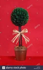 artificial tree in gold pot against background stock photo